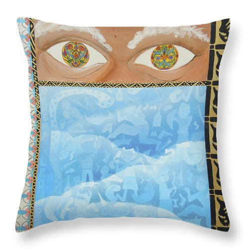 Biblical Throw Pillow featuring the painting Revelations by Tonya Henderson
