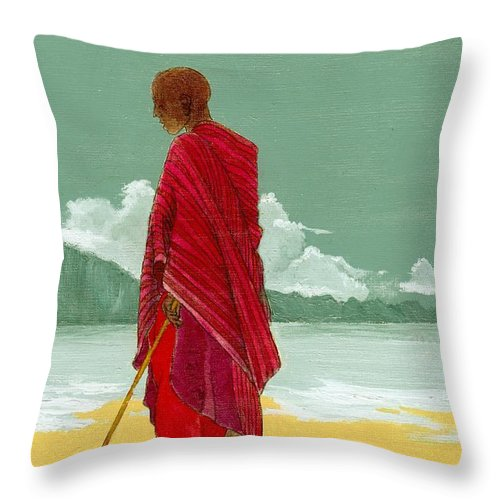 Figurative Painting Throw Pillow featuring the painting Reverence by Edith Peterson