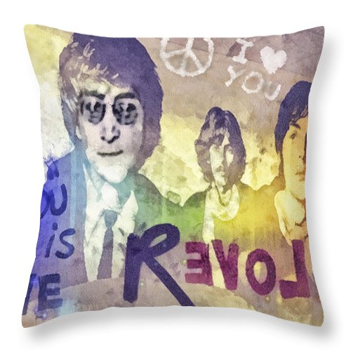 Revolution Throw Pillow featuring the mixed media Revolution by Mo T