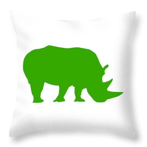 Graphic Art Throw Pillow featuring the digital art Rhino In Green by Jackie Farnsworth