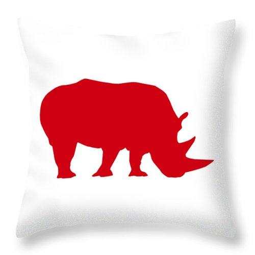 Graphic Art Throw Pillow featuring the digital art Rhino In Red And White by Jackie Farnsworth