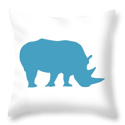Graphic Art Throw Pillow featuring the digital art Rhino In White And Turquoise by Jackie Farnsworth