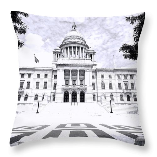 Providence Throw Pillow featuring the photograph Rhode Island State House Bw by Lourry Legarde