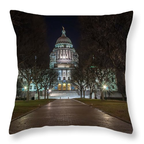 American Throw Pillow featuring the photograph Rhode Island State House In Providence Rhode Island by Alex Grichenko