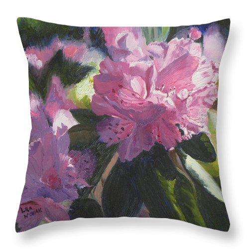 Flowers Throw Pillow featuring the painting Rhododendron Squared by Lea Novak