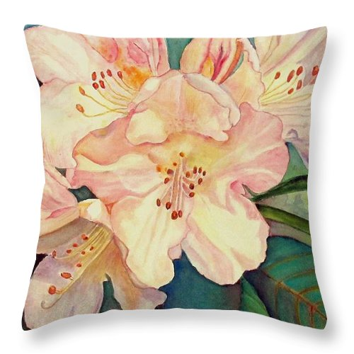 Flowers Throw Pillow featuring the painting Rhododendrons by Norma Boeckler