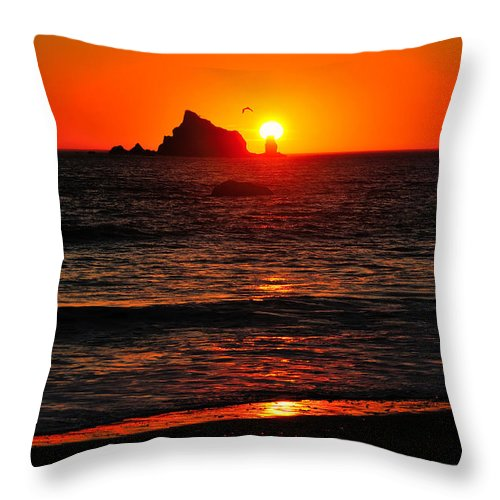 Olympic National Park Throw Pillow featuring the photograph Rialto Beach Sunset by Greg Norrell