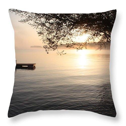 Rice Lake Throw Pillow featuring the photograph Rice Lake by Pat Purdy