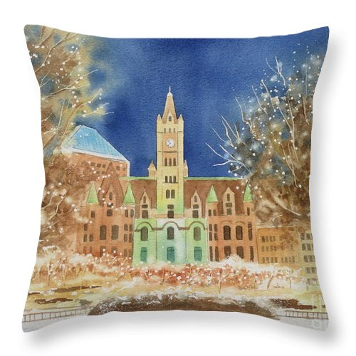 Rice Park Throw Pillow featuring the painting Rice Park Winter by Deborah Ronglien