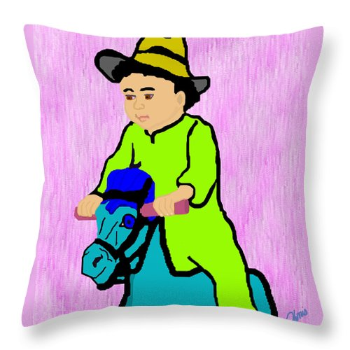 Toddler Throw Pillow featuring the drawing Ride The Horsey by Pharris Art