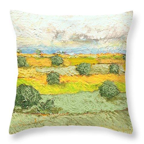 Landscape Throw Pillow featuring the painting Ridge Vista by Allan P Friedlander
