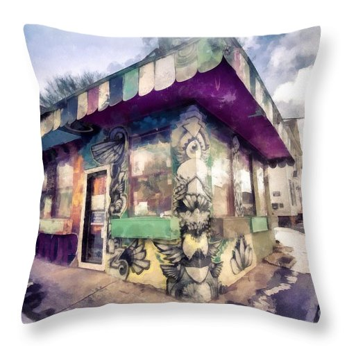 Vermont Throw Pillow featuring the photograph Riding High Skateboard Shop Watercolor by Edward Fielding