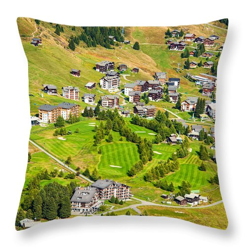 Riederalp Throw Pillow featuring the photograph Riederalp Switzerland With Golf Course by Matthias Hauser