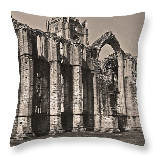 Rievaulx Abbey Throw Pillow featuring the photograph Rievaulx Abbey by John Topman