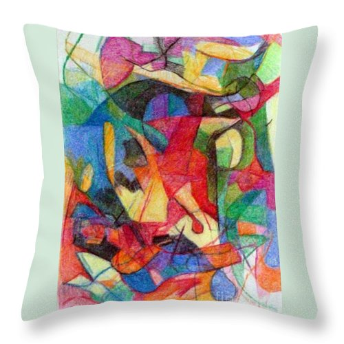 Torah Throw Pillow featuring the drawing Righteous Step 1 by David Baruch Wolk
