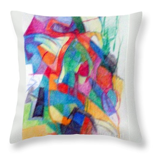 Torah Throw Pillow featuring the drawing Righteous Step 2 by David Baruch Wolk