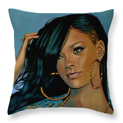 Rihanna Throw Pillow featuring the painting Rihanna Painting by Paul Meijering