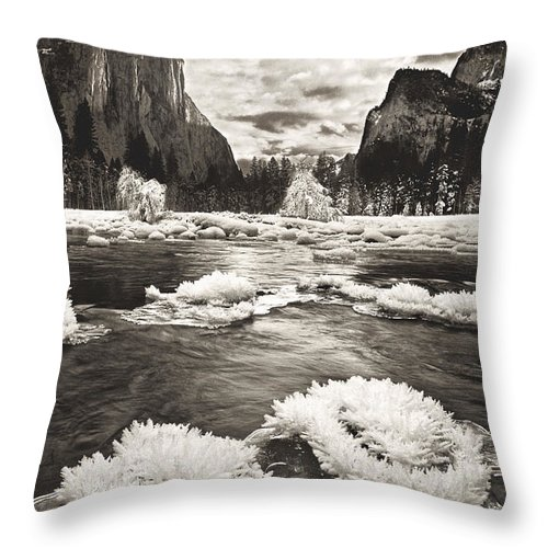 North America Throw Pillow featuring the photograph Rime Ice On The Merced In Black And White by Dave Welling
