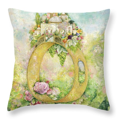 Ancient Throw Pillow featuring the painting Ring And Rose by Michoel Muchnik