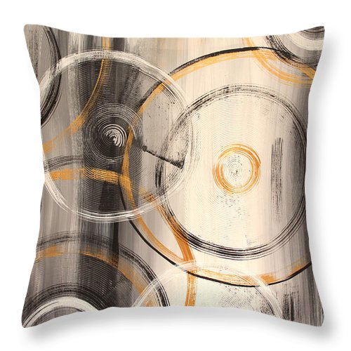 Original Painting Throw Pillow featuring the painting Rings Of Gold Abstract Painting by Jean Plout