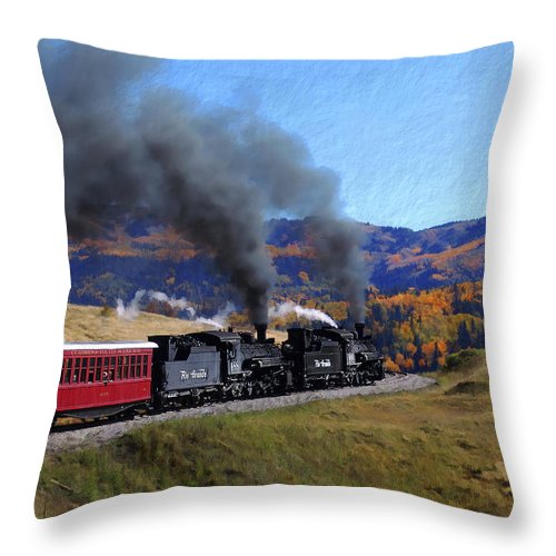 Railroad Throw Pillow featuring the photograph Rio Grande 488 And 489 by Kurt Van Wagner