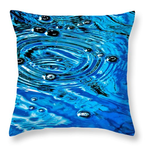 Water Throw Pillow featuring the photograph Ripples Of A Bubble Bursting by Jean Wright