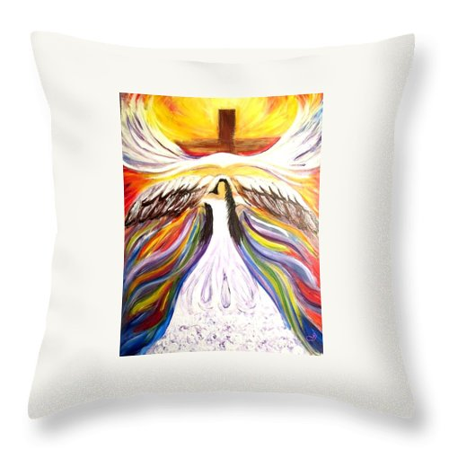 Eagles' Wings Throw Pillow featuring the painting Rise Up With Wings As Eagles by Jewell McChesney
