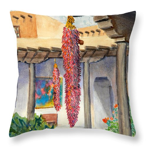 Chillies Throw Pillow featuring the painting Ristras by William Smith