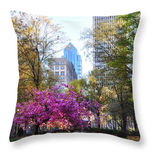 Rittenhouse Throw Pillow featuring the photograph Rittenhouse Square In Springtime by Bill Cannon