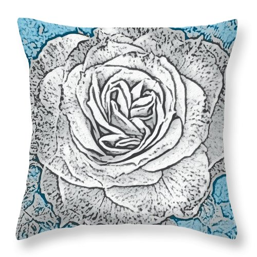 Digital Art Throw Pillow featuring the photograph Ritzy Rose With Ink And Blue Background by Conni Schaftenaar