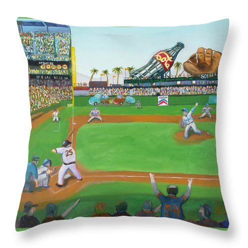 San Francisco Giants Painting Throw Pillow featuring the painting Rivalry by Ryan Williams