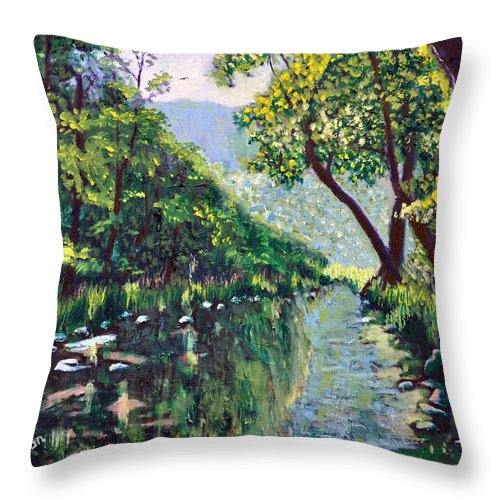 River Throw Pillow featuring the painting River and Trees by Stan Hamilton