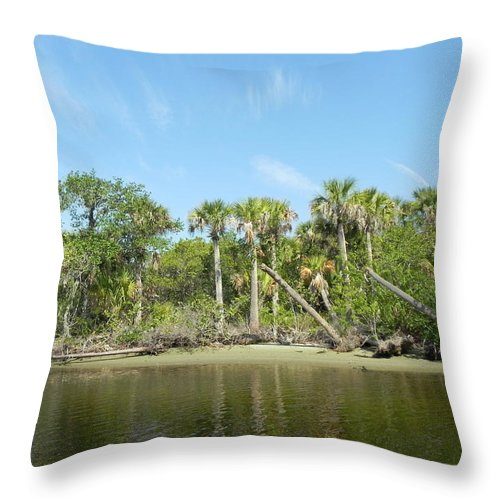 River Throw Pillow featuring the photograph River Bank by Cynthia N Couch
