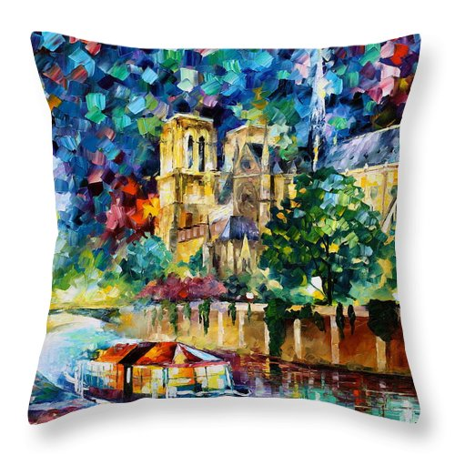 Afremov Throw Pillow featuring the painting River In Paris by Leonid Afremov