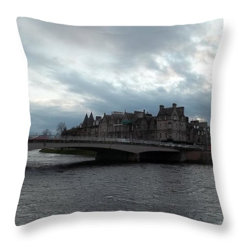 River Throw Pillow featuring the photograph River Ness Bridgeway by James Potts