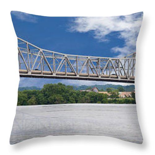 74 Throw Pillow featuring the photograph Paddle Wheel Pano by Jim Finch