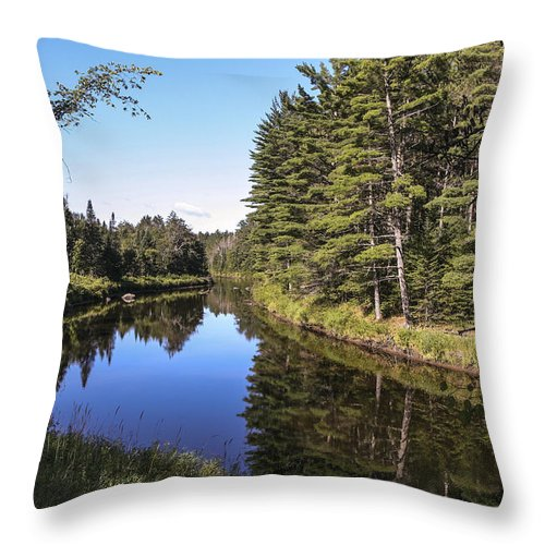River Adirondack Throw Pillow featuring the photograph River Reflections by Eric Swan