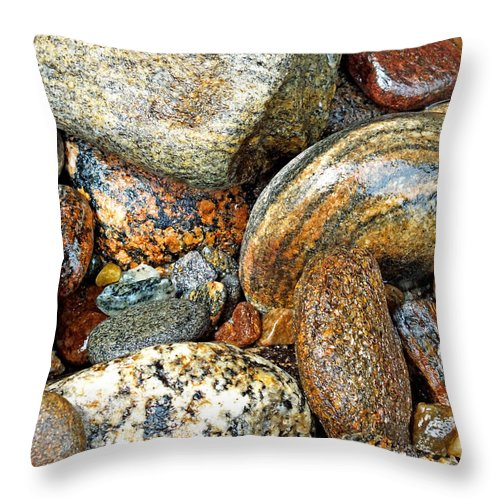Duane Mccullough Throw Pillow featuring the photograph River Rocks 11 by Duane McCullough