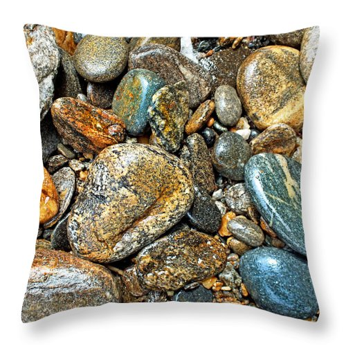 Duane Mccullough Throw Pillow featuring the photograph River Rocks 14 by Duane McCullough