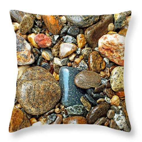 Duane Mccullough Throw Pillow featuring the photograph River Rocks 15 by Duane McCullough