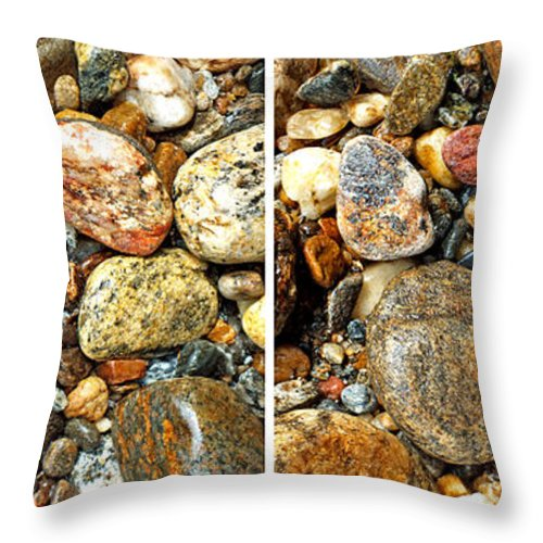 Duane Mccullough Throw Pillow featuring the photograph River Rocks 15 In Stereo by Duane McCullough