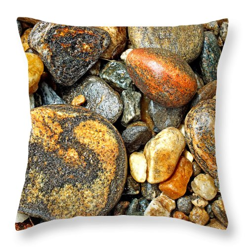 Duane Mccullough Throw Pillow featuring the photograph River Rocks 16 by Duane McCullough
