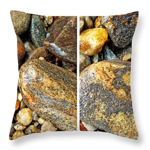 Duane Mccullough Throw Pillow featuring the photograph River Rocks 16 In Stereo by Duane McCullough