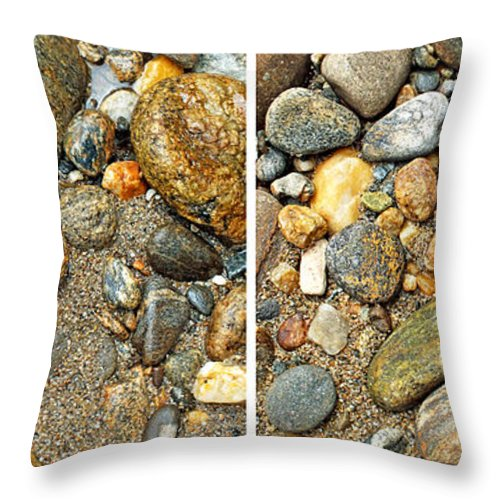 Duane Mcccullough Throw Pillow featuring the photograph River Rocks 17 In Stereo by Duane McCullough