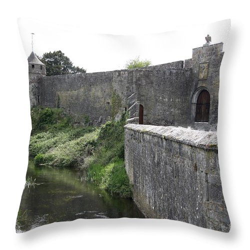 Cahir Castle Throw Pillow featuring the photograph River Suir And Cahir Castle by Christiane Schulze Art And Photography
