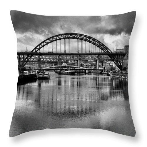 Newcastle Canvas Throw Pillow featuring the photograph River Tyne Bridges by Trevor Kersley