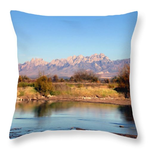 River Throw Pillow featuring the photograph River View Mesilla by Kurt Van Wagner