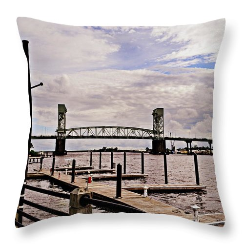River Walk Throw Pillow featuring the photograph River Walk Wilmington Bridge by Amy Lucid