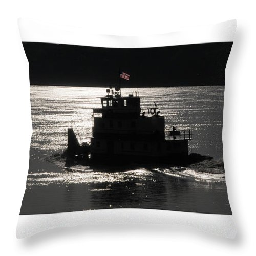 Riverboat Throw Pillow featuring the photograph Tugboat by Leon Hollins III
