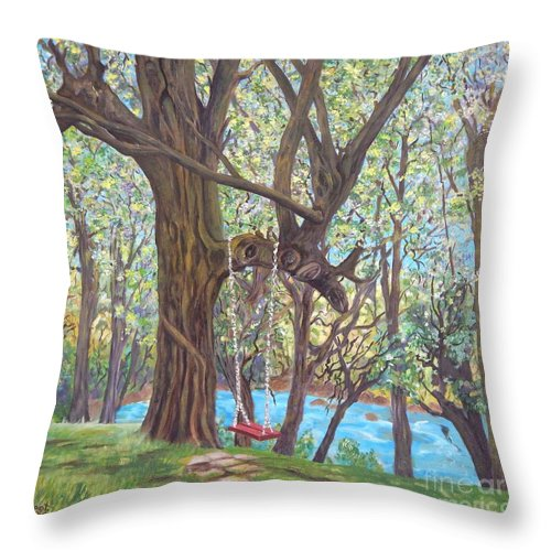 Landscape Throw Pillow featuring the painting Riverside by Caroline Street